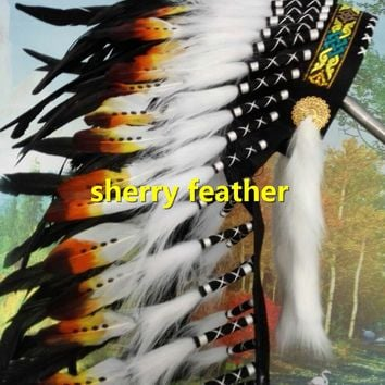 28inch black Indian Feather headdress chief indian warbonnet dancewear costume handmade costume