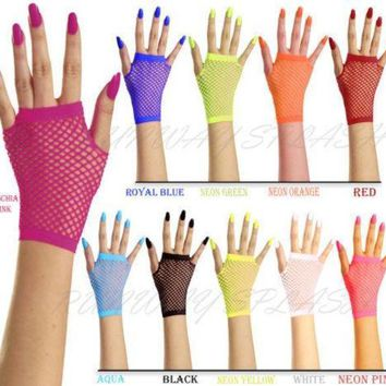 ac PEAPO2Q New Women Girls Mesh Gloves Short Wrist Gothic Punk Rock Costume Fancy  Party Mesh Fingerless Gloves