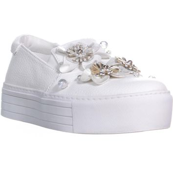 Kenneth Cole Cheer Floral Slip On Sneakers , White, 7.5 US / 38 EU