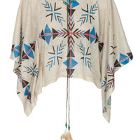 Aztec Print Boho Oversized Crop Top in Beige