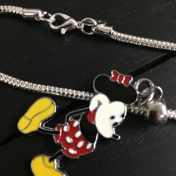 Silver Plated Charm Bracelet with Mickey Mouse Charm
