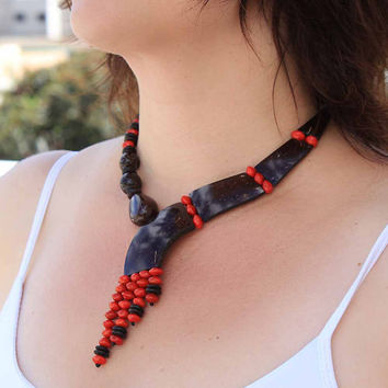 Asymmetrical Coconut Necklace with Red Seed Beads, Statement Necklace, Eco Friendly Jewelry, Fair Trade Jewelry, Coconut Jewelry  a1320