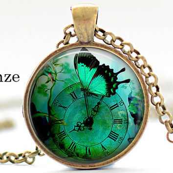 Green Butterfly Clock time timesless Nature Insects Pendant Steampunk Art Pendant Necklace Jewelry Animal lover gifts green wings fantasy