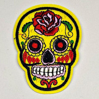 Embroidered Sugar Skull Patch - Iron on Applique - Sew on Patch - Skull Patch