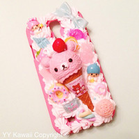 Custom Decoden Rilakkuma and Korilakkuma Ice Cream Cone And Sweets Phone Case for iPhone 4/4s 5, Samsung Galaxy S2, S3, S4, IPod Touch