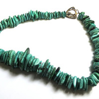 Turquoise Necklace - Turquoise Chunky - Southwestern Style - Blue and Green Tone Turquoise Chips
