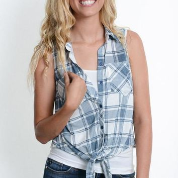 Blue Plaid Knot Sleeveless Top