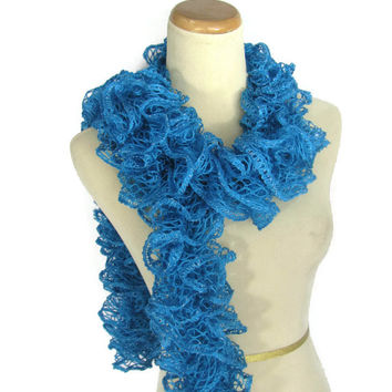 Ruffle Scarf, Blue Scarf, Knit Scarf, Fashion Scarf, Women's Scarf, Turquoise, Hand Knit Scarf