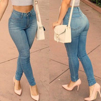 Stylish High-Waisted Zipper Embellished Slimming Pencil Jeans For Women