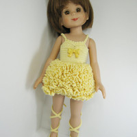 """Betsy McCall Robert Tonner Doll Clothes 14"""" or Effner Little Darling 13"""" Doll Clothes, Buttercup  Ballerina Outfit only.  Handmade Crochet"""