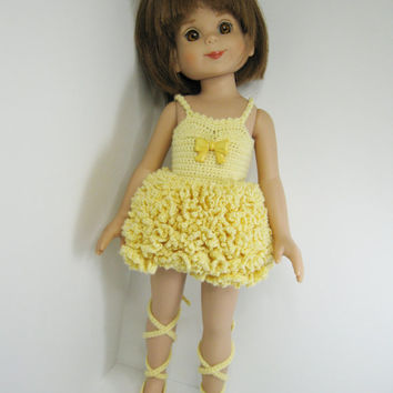 "Betsy McCall Robert Tonner Doll Clothes 14"" or Effner Little Darling 13"" Doll Clothes, Buttercup  Ballerina Outfit only.  Handmade Crochet"
