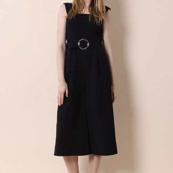 So Chic Belted Wide-leg Jumpsuit in Black