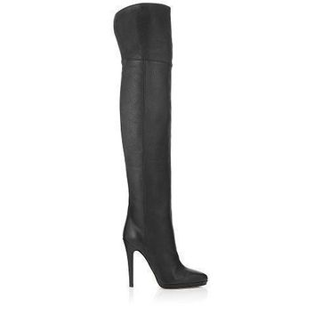 Jimmy Choo Women Fashion Leather High Boots Stiletto Shoes-2