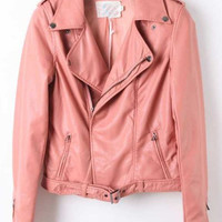 Pink Lapel Long Sleeve Zipper PU Leather Coat - Sheinside.com