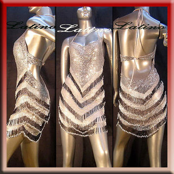 LATIN RHYTHM  SALSA BALLROOM DANCE COMPETITION DRESS SIZE S, M, L (VL3A)