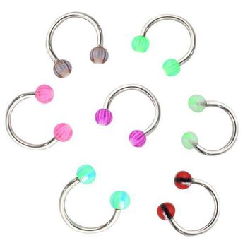 ac ICIKO2Q 2017 new hot 20pcs / lot Colorful Stainless Steel Ball Dumbbell Curved Nose Studs Rings Bars Piercing Jewelry Cosmetic Tool