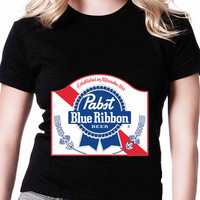 Pabst Blue Ribbon Beer R FD Womens T-shirt Black and White