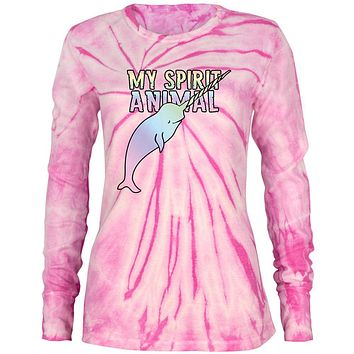 My Spirit Animal Narwhal Unicorn Of The Sea Pastel Juniors Long Sleeve Thermal Shirt