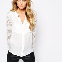Vila Lace Sleeve Collarless Blouse