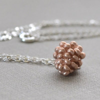 Rose Gold Pinecone Necklace, Sterling Silver, Winter Jewelry, Woodland Wedding, Nature Jewelry, Winter Wedding, Bridesmaid Gift Le Printemps