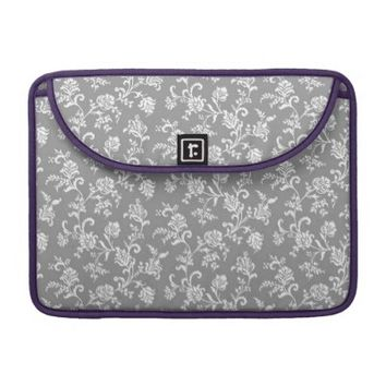 Gray Modern Floral Pattern Sleeve For MacBooks
