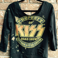 KISS, size small, sweatshirt , off the shoulder, soft grunge  rock concert T shirt bleached