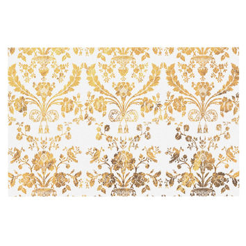 "KESS Original ""Baroque Gold"" Abstract Floral Decorative Door Mat"