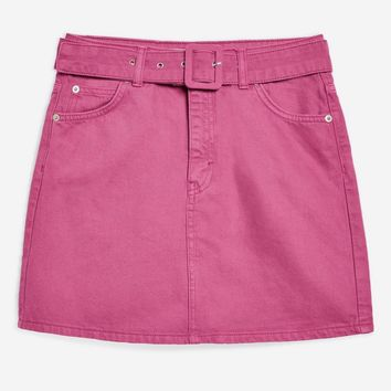 Belted High Waisted Denim Skirt - Skirts - Clothing