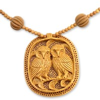 India Wood Jewelry Hand Crafted Necklace - Owl Romance | NOVICA