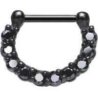 "16 Gauge 5/16"" Black Cubic Zirconia Glamorous Black PVD Septum Clicker"