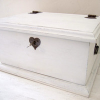 White Heart Lock Keepsake Box, Wedding Box - Handmade by Arcadian Cottage