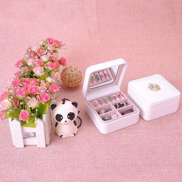 Fashion Earrings Ring Necklaces Jewelry White Imitation Leather Organizers Box