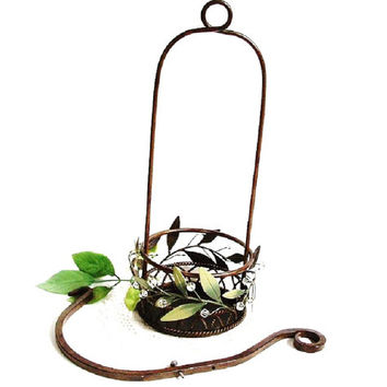 Vintage Hanging Plant Basket Candle Holder Wrought Iron