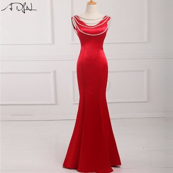 ADLN 2018 Long Evening Dresses Red/Black/Royal Blue Satin Custom Made Backless Mermaid Formal Party Gown Robe De Soiree