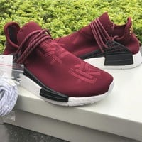 Pharrell Williams Friends and Family NMD HUMAN RACE Runner Shoes Yellow Hu man Special Burgundy Maroon Sport sneakers Shoes size36-45