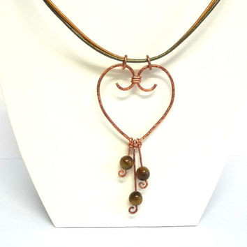 Upcycled Bare Copper Wire Necklace, Tigers Eye Beads, Heart shaped Clasp, Metallic leather thonging, Recycled Copper, Hand Crafted