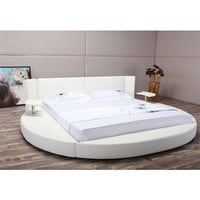 Queen Size Modern Round Platform Bed with Headboard in Faux White Leather