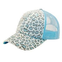 MG Women's Print Mesh Canvas Trucker Baseball Cap Hat (Blue Leopard)