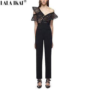 2017 New Ruffle Sleeve Spring Jumpsuit Woman Solid Black Lace Crochet Hollow Out Tunic Bodysuit Women England Style KWH0231-45