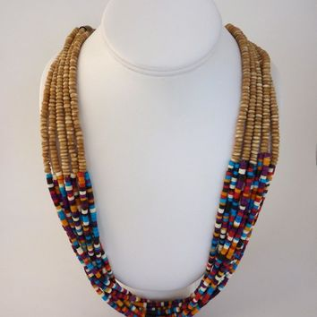 10 Strand Necklace Multicolor Heishi Beads Black Purple Red Orange Tan Base Beads Vintage 1980's Hand Crafted Southwest Style 30.5 inches