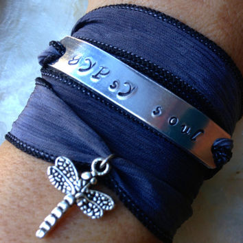 Gypsy Soul Dragonfly Inspirational Silk Wrap Bracelet Hand Stamped - Boho Jewelry - Free Spirit - Gifts For Her
