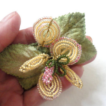 Yellow and Pink Flower Hair Clip with Vintage Beads