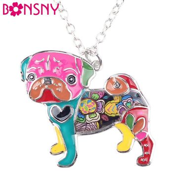 Bonsny Statement Metal Alloy Enamel Pug Dog Choker Necklace Chain Collar Bulldog Pendant