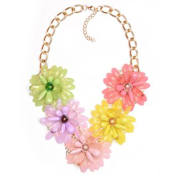 Woman Girl Fashion Vintage Retro Flower Sunflower Pendants Choker Necklace Chain Jewelry for Party Wedding Gift