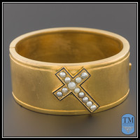 Antique Victorian Cross Bangle Bracelet, Pearl & Enamel