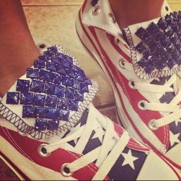 DCCKHD9 4TH OF JULY Custom Studded Converse Shoes! Studded Stars & Stripes Freedom Edition!