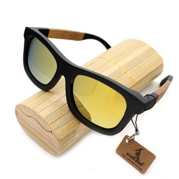 BOBO BIRD Brand Design G02-3 Handmade Polarized Glasses Creative Black Bamboo Wooden Frame Sunglasses Women Men With Bamboo Box