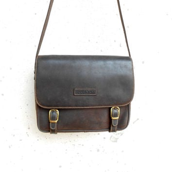 Vintage Leather Messenger Bag DUOLYNX / Nubuck Leather / Crossbody Bag / Leather Purse / Medium