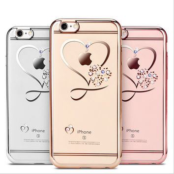 For iphone 6 Case Ultra Thin Clean Soft TPU Crystal Phone Cases Rose Gold Plating Glitter Diamond Cover For iphone 6 6S 6 Plus