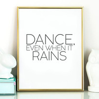 Children's Art Print Poster Rain Cloud Stormy Someday I'll Dance in the Rain Kids Furniture and Decor Modern Nursery Kids Wall Art